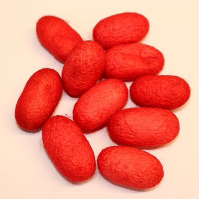 Dyed silk cocoons x 10 -  Red