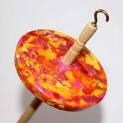 Drop spindle - 42g - Recycled plastic (orange/yellow/pink)