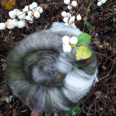 Snowberry carded wool batt - 100g